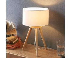 Lampenwelt.com Lampada da tavolo Charlia in legno e stoffa bianca
