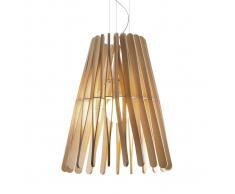 Fabbian Lampada a sospensione Stick in legno a cono