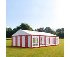 tendapro.it Tendone 5x10m PVC bianco-rosso Gazebo per Feste e Giardino