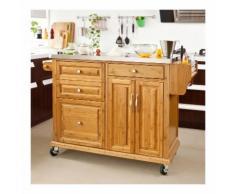 SoBuy Carrello di servizio, Scaffale da cucina,Buttler,Mobili cucina,bambù+ acciaio(piano),