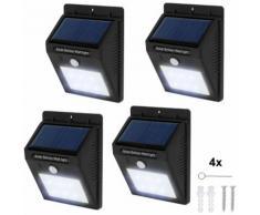 4 lampade LED a muro, a energia solare con sensore di movimento