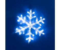 Fiocco di neve in tubo luminoso LED, 40 x h. 44 cm, led bianco freddo, luci natalizie, decorazioni