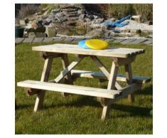 Tavolo PICNIC per bambini 89 x 91 cm con panche fisse - Onlywood