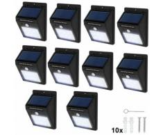 10 lampade LED a muro, a energia solare con sensore di movimento