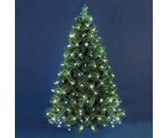 Mantello di luci per albero di Natale 3,8 x h. 2 m, 195 led bianco freddo, cavo verde, decorazione