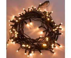 Catena 10 m, 120 maxiled bianco caldo, cavo verde, prolungabile, luci di Natale, luci per albero,