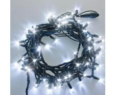 Catena 10 m, 80 Scintil Led bianchi, cavo verde, prolungabile, filo di luci, luci di Natale, catena