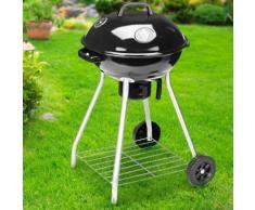 Barbecue a Carbone Griglia 45cm 2 Ruote Coperchio Raccogli Cenere e Ripiano