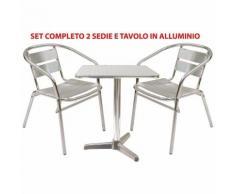 Set completo salotto in alluminio 2 sedie e tavolo quadrato per casa balcone bar giardino interno