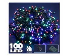 Catena Luminosa 100 Luci LED Lucciole Multicolor con Controller 8 Funzioni