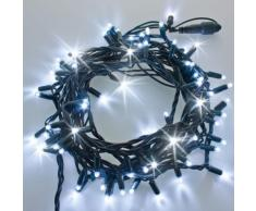 Catena 10 m, 120 maxiled bianco freddo, cavo verde, effetto flashing, prolungabile, luci natalizie,