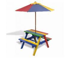 Set Tavolo & panchina da picnic per bambini con parasole 4 colori
