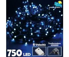 Catena Luminosa 750 Luci LED Lucciole Bianco Freddo e BLU Controller 8 Funzioni