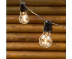 Catena di luci per feste, 5 m, 10 lampadine in vetro Ø 6 cm, E27, led bianco caldo, cavo nero