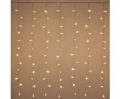 Tenda 2,55 x 1,10 m, 180 led bianco caldo, effetto flashing cavo trasparente, prolungabile, luci