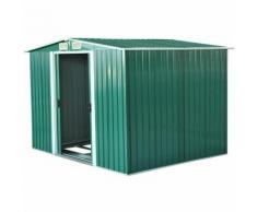 Outsunny Box Casetta da Giardino Ripostiglio per Attrezzi in Lamiera d'Acciaio, Verde,