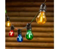 Catena di luci per feste, 5 m, 10 lampadine colorate in vetro Ø 6 cm, E27, cavo nero