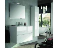 Mobile bagno sospeso 900 in legno laccato bianco lucido con lavabo Noja | Con specchio e lampada LED