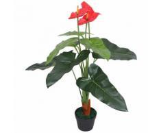 Anturium Pianta Artificiale con Vaso 90 cm Rosso e Giallo