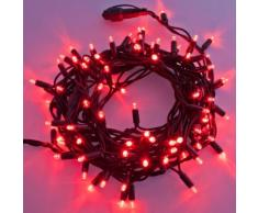 Catena 10 m, 120 Maxiled rossi, cavo verde, prolungabile, luci natalizie, decorazione natalizia,