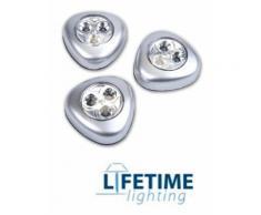 Lampade Luci Adesive Set 3 Pezzi Con Accensione A Pressione 3 Led Extra White