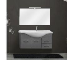 Mobile sospeso bagno 2 ante 2 cassetti 105 cm grigio legno invecchiato specchio+applique
