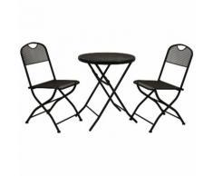 Set completo salotto pieghevole tavolo e due sedie in ferro nero Rimini per bar giardino casa