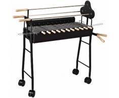 Outsunny Barbecue BBQ Grill con Cuocispiedini e Spiedo Girarrosto, 85x36x90cm