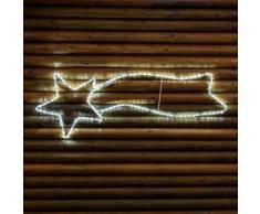 Stella cometa 120 cm in tubo luminoso, 126 led bianco freddo, effetto flashing, stella di Natale,