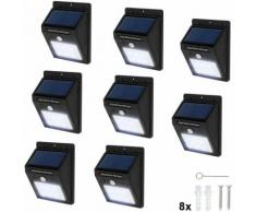 8 lampade LED a muro, a energia solare con sensore di movimento