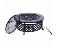 Outsunny Braciere Barbecue da Giardino con Coperchio e Attizzatoio