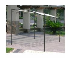 Gazebo pergola da muro metri 3x2,5 in ferro e metallo nero telo ecrù da giardino bar terrazzo