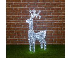 Renna con cristalli, testa rotante, 200 led bianco freddo, H 90 cm, soggetti natalizi luminosi,