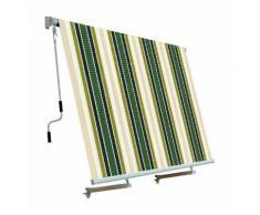 Tenda da sole per balcone con sistema a caduta ECRU/VERDE 250x250 cm PAPILLON