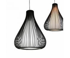 Lampadario a sospensione E27 - metallo - nero/blanco - Design Vintage