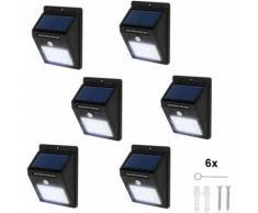 6 lampade LED a muro, a energia solare con sensore di movimento