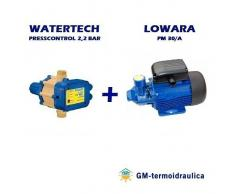 Kit Autoclave Elettropompa Periferica Lowara Pm 30 0,7 Hp 0,5 Kw + Press Control Watertech 2,2 Bar