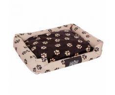 Letto per cani Oekobed in peluche con motivo a zampine - L 100 x P 80 x H 25 cm