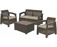 JUSTyou Corfu Set Box Rattan-Optik Marrone Grigio