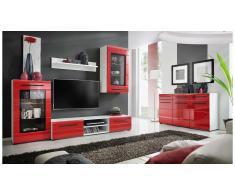 JUSTyou Wupper Mobile per soggiorno Bianco opaco | Rosso extra lucido