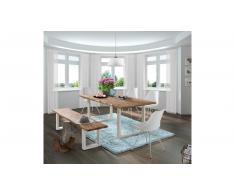 JUSTyou Perryman Set tavolo con sedie Acacia Bianco