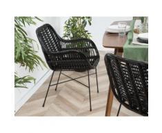Set di 2 sedie da giardino in rattan nero CANORA