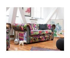 Divano 3 posti in tessuto multicolore viola CHESTERFIELD