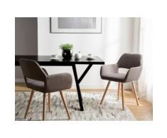 Set di 2 sedie da pranzo in tessuto marrone CHICAGO