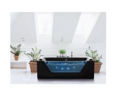 Vasca da bagno rettangolare in acrilico nero con idromassaggio - SAMANA