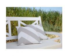 Cuscino decorativo da giardino con zigzag grigio-beige 40 x 40 cm