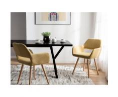 Set di 2 sedie da pranzo in tessuto giallo CHICAGO