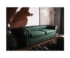 Divano vintage a 3 posti in pelle verde CHESTERFIELD