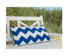 Cuscino decorativo da giardino con zigzag blu 40 x 70 cm