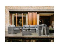 Set divano angolare da giardino in rattan marrone chiaro CONTARE